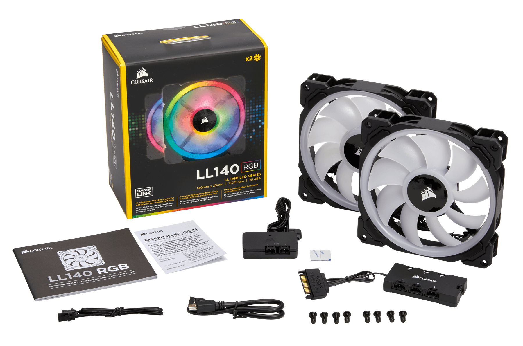 Corsair LL140 Dual Light Loop 140mm RGB LED Fans - Twin-pack with Lighting  Node PRO